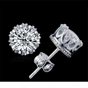 K Band New Gold Crown Men Stud Earring 925 Sterling Silver Cz Simulated Diamonds Engagement Beautiful Women Wedding Crystal Ear Rings