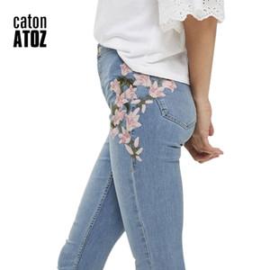 catonATOZ 2157 Mom jeans New Wholesale Woman's Denim Pencil Pants Embroidery Brand Stretch Jeans Ladies High Waist Jeans Femme 201014