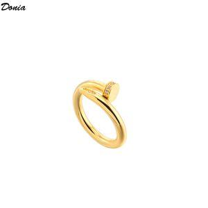 Donia jewelry luxury ring European and American fashion nail titanium steel micro-inlaid zircon creative designer gift