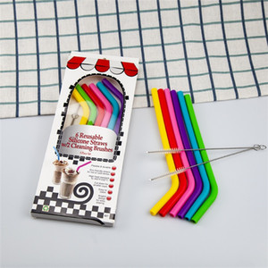 8pcs lot Food Grade Silicone Drinking Straws Reusable Silicone Bent Straws Set with Two Brushes Recycling Silicone Cocktail Straws OOA9748