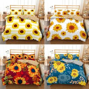 Boniu Luxury Bedding Set 3d Printing Sunflower Duvet Cover Pillow Case Queen Home Textiles 2 3pcs