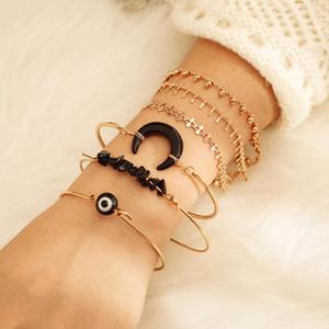Tocona Charms 6pcs sets Sumemr Black Stone Bracelets Bohemian Moon Chain Arm Cuff Bangles Women Accessories 8166