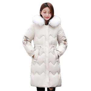 Winter Coat Women White M-3XL Plus Size Embroidery 20 New Korean Fashion Slim Fur Collar Hooded Warmth Down Cotton Jackets LJ070