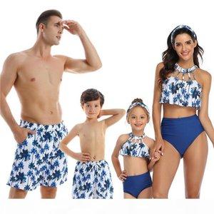 NEW Family Matching Outfit Swimwear Women Swimsuit Dad Mother Daughter Kid Son Girl Bathing Swim Suit Bikini Summer Beach Dress