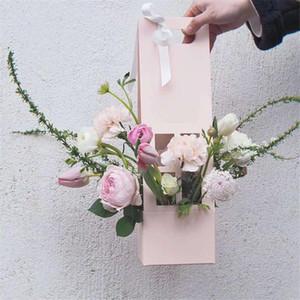 5pcs lot Kraft Paper Box Flower Packaging Box Portable Cardboard Flower