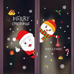 1set Merry Christmas Wall Stickers Window Door Glass Festival Decals Santa Murals New Year Xmas Decorations For Home Decor jllqxE mxyard