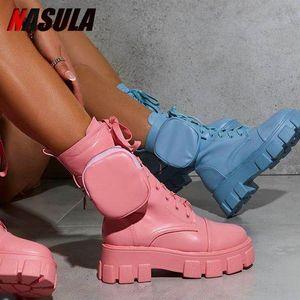 Botas cortas de bolsillo de resolución gruesa de nasula Botas cortas nuevas cremalleras botines versátiles de moda cómodos zapatos de mujer de abajo 201031
