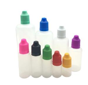 Colorful 500pcs 5ml 10ml 15ml 20ml 30ml 50ml Empty E Liquid Plastic Dropper Bottles with Child Proof Bottle caps Needle Tips