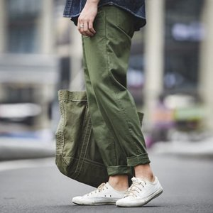 Maden Men's Green Army Pants Overalls Rectangular Straight Casual Pants Retro Vintage Men New Style Cotton 201110