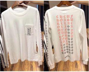 Crockett popular logo new Sanskrit printed round neck pullover long sleeve T-shirt for both men and women