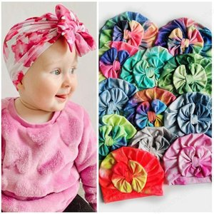 11 Styles Baby tie dye bow Hats bow Caps Kids headbands india Caps Baby Girls Slouchy Beanies Skull Cap Baby Turban Head Wraps