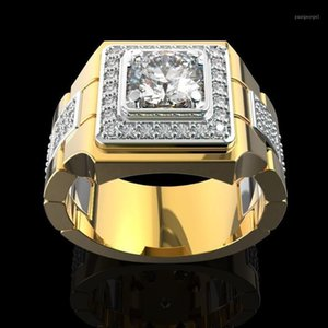 Lujo 14k oro blanco anillo de diamante para hombres moda bijoux femme joyería gemas naturales bague homme diamante anillo machos1