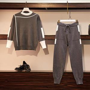 CBAFU L-4XL плюс размер вязаный набор осень зима женщин костюм свитер пуловеры эластичные брюки костюм брюки установить теплый P506
