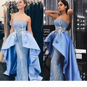 Saudi Arabia Sky-Blue Prom Dresses With Satin Overskirt Fashion Strapless Applique Lace Mermaid Party Dress Glamorous Sexy Evening Dresses
