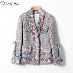 2020 Autumn Tweed Jacket Women V-neck Tweed Coat Pearl Buttons Slim Elegant Women Jackets Casaco Feminine Top