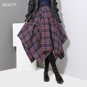 Women's 2020 Autumn and Winter Hot Style Irregular Half Skirt Korean Version of Plaid High Waist Skirt with Belt SSS