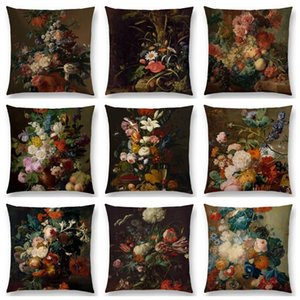 Classical Flowers and Plants Still Life Floriculture Vase Leaf Fruits Oil Painting Art Cushion Cover Sofa Throw Pillow Case