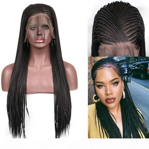 Micro Braided Wigs Heat Resistant High Temperature Fiber Hair Synthetic Lace Front Long Braided Box Braids Wig For African American Women