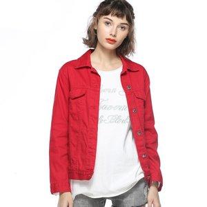 Женские куртки весенние джинсовые джинсовые женские плюс размер парня короткое пальто одиночный погруженный красный розовый черный синий корейский повседневная джинсовая куртка женщины