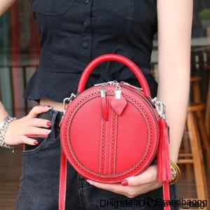 Top Layer Leather Handbag Small Round Retro Slung Shoulder Mini Makeup Bags Tide Tassels Crossbody Bag Handbags