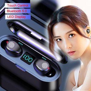 Kablosuz Kulaklık F9 TWS Bluetooth V5.0 GPS isim ver Metal Menteşe Kablosuz Şarj vaka Kulaklık Geçerli seri numarası otomatik soyma