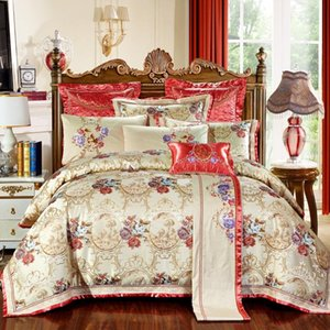 4 6 10Pcs Luxury Wedding Royal Bedding Set Stain Jacquard Bedclothes King Queen Size Bed set Cotton Bed Spread Duvet Cover