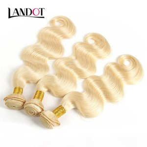 9A Bleach Blonde Color 613# Brazilian Virgin Hair Weave Bundles Body Wave Peruvian Malaysian Indian 100% Human Hair Extensions Can be Dyed