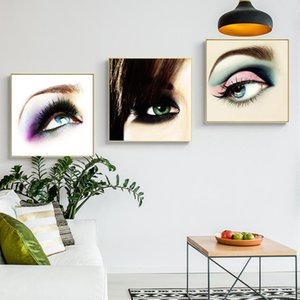 Nordic Home Decor Wall Art Canvas Painting Eye Eyelash Eyebrow Posters and Print Modern Minimalist Picture for Girls Bedroom