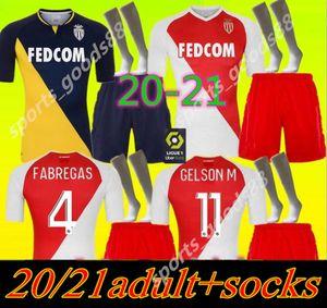 2020 2021 FABREGAS Монако BEN Yedder футбол Джерси Йоветич GOLOVIN 20 21 Майо-де-футовой Flocage ХОРХ Мужчины комплект футбол рубашка