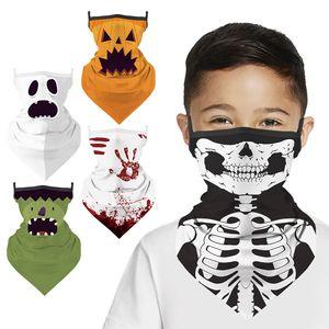 Bambini Triangle Neck Ghaiter Antivento Protezione viso Maschera di protezione Sciarpa di Halloween per bambini ESTRUCITA 'BANDA BANDANA 5 STILI AHB1520