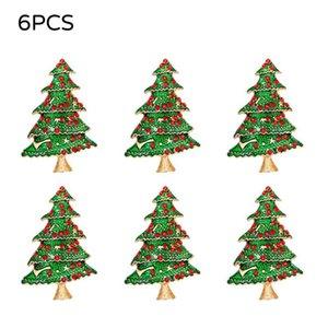 6PCS d'arbre de Noël Porte-serviette Anneaux langes pour mariage Fête de Noël Dîner Décor de table Green Tree