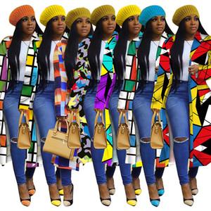 Otoño 2020 estampado de cuadros estándar de doble botonadura de solapa cortavientos para mujer de diseño a largo gabardina abrigos de moda para las mujeres S-5XL