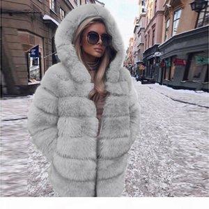 ISHOWTIENDA Faux Fur Coat Women 2018 Hooded Warm Long Autumn Winter Faux Fur Jacket Coat Casual Overcoat Manteau Femme Hiver