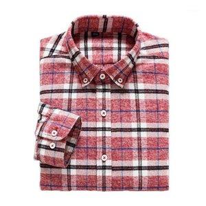 Aoliwen marka erkek ekose gömlek uzun kollu rahat gömlek 100% pamuk erkek yaka yumuşak ve rahat Spring1