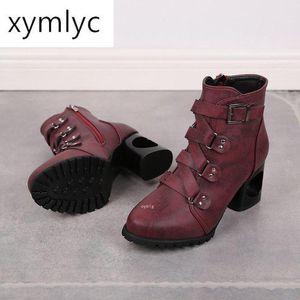 Новые женские сапоги Zip Пряжка Combat Boots Карман пинетки Узелок черные ботинки мотоцикла большого размера