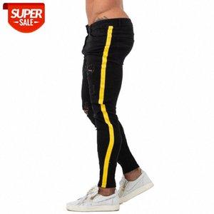 Gingtto Black Skinny Jeans Homme Denim Stretch Slim Fit Fit Jeans De Marque Style Classique Hip Hop Taping Taping serré Mâle ZM68 # WW2R
