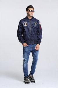 New Autumn Apollo Thin 100th SPACE SHUTTLE MISSION Thin MA1 Bomber Hiphop US Air Force Pilot Flight College Jacket For Men 201014