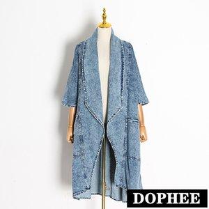 Herbst Kleidung Müsli 2020 Frauen Vintage Denim Windjacke Große Revers Halbhülse Lose Strickjacke Jean Trench Coats Blau