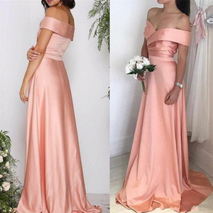 Elegant Peach A Line Evening Dresses Off Shoulder Pleats Floor Length Satin Formal Dress Evening Party Gowns Wear vestidos robes de soiree