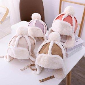 새로운 겨울 아기 모자 따뜻한 아이 모자 스웨이드 소년 모자 아이 모자 아기 모자 귀마개 모자 여자 모자 아이 모자 덫 모자