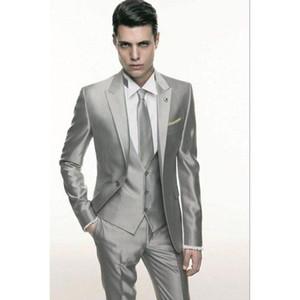 Silver Grey wedding Men Suit Formal Skinny terno masculino Male Blazer Party Custom Tuxedo 3 Piece Vestidos mens suits