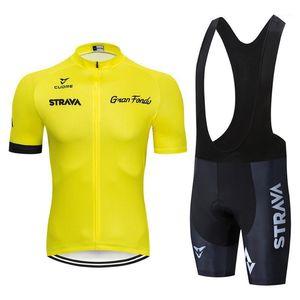 Jersey à cyclisme à manches courtes Strava Set Pantalon BIB ROPA CICLISMO VÊTEMENTS MTB Vélo Hommes et Femmes1