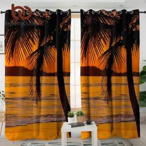BeddingOutlet Sunset Salon Perde 3D Baskı Lüks Perde Hindistan cevizi ağacı Plaj Manzara Mutfak Tropikal Perdeler