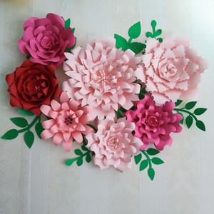 2021 كبير العملاق ورقة الزهور فلوريس دي papel gigante العملاقة روز زهرة للطفل الحضانة الزفاف خلفية الديكورات دروس