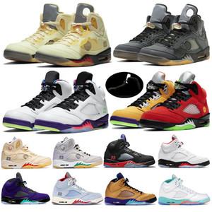 New 5 5s V OG preto metálico Ouro Branco Cimento Mens Basketball Blue Suede Shoes Olímpico metálicos Fire Red Sports Sneakers US 7-13