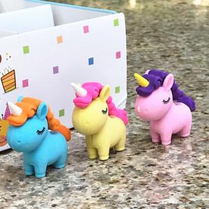 Unicornio lindo borrador de goma animal de la historieta del borrador de lápiz creativo estudiante de escuela con suministros de librería Papelaria regalo de los niños