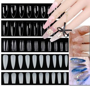 500 100set Fake Nails With Designs Artificial Press on Long Ballerina Clear Natural white False Coffin Nails Art Tips