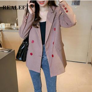 ReaLeft outono inverno 2020 estilo mulheres elegante xadrez blazer bolso manga completa Dupla breasted casaco casaco feminino