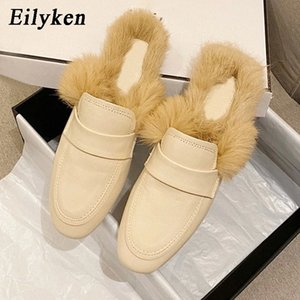 Eilyken 2021 New Fashion Winter Fur Plush Warm Lazy Women Flat Shoes Mules Slippers Femme Casual Slip On Slides Shoes Size 35-39 #BF1W