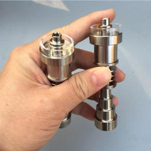 Ajustável Titanium Nails 6 em 1 Fit For 10/14/18 milímetros unhas Feminino Masculino junta de vidro Tubo Domeless Titanium com Quartz Dish bacia